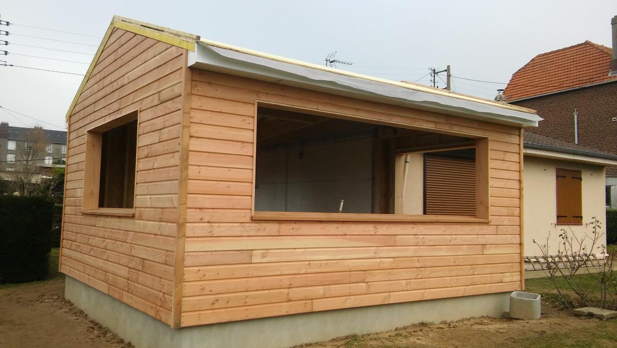 Agrandissement en ossature bois dieppe fabrication for Agrandissement maison cube en bois
